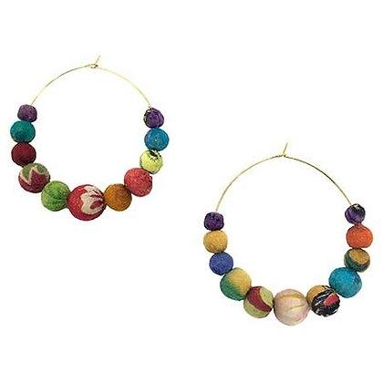 Kantha Hoop Earrings