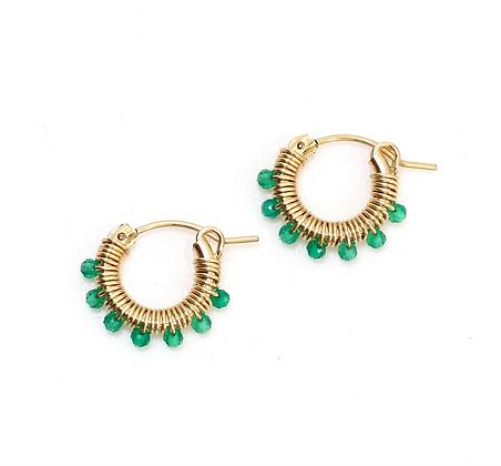 Gemstone Hoops 13 - Medium Jade