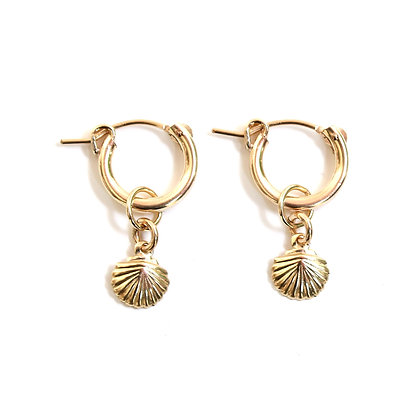 Hoop + Charms Earrings - Shell 13mm