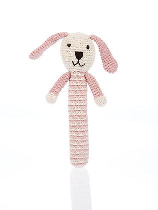 Hochet au crochet bio - rose