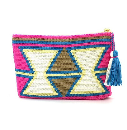 I LOVE SYRIA Clutch - Pink Green Inverted Triangles