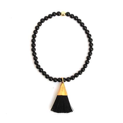 Black Agate Tassel Bracelet
