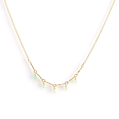 Tiny Gemstone Arc Necklace - Green Jade