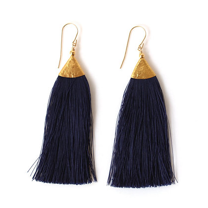 Mimi Tassel Earrings - Navy