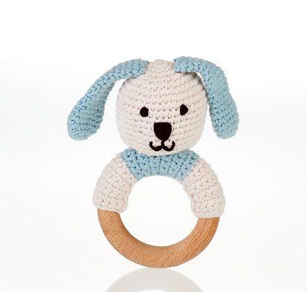 Organic Wooden Ring Rattle – Blue