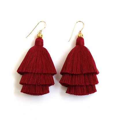 Mary Tassel Earrings - Burgundy
