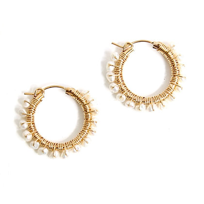 Gemstone Hoops 22 - Pearl
