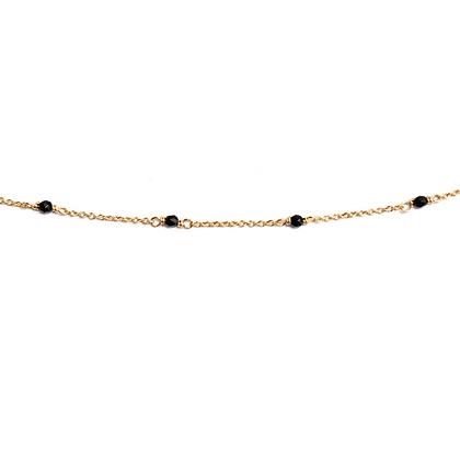 Dainty Gemstone Bracelet - Black Agate