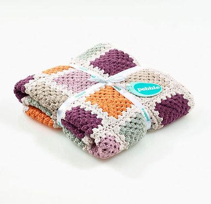 Organic Crocheted Blanket - Soft Purple