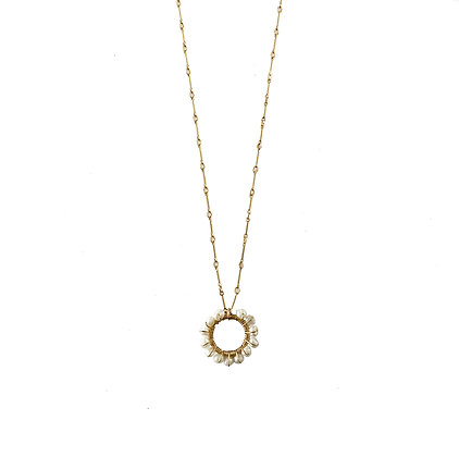 Rising Sun White Pearl Necklace