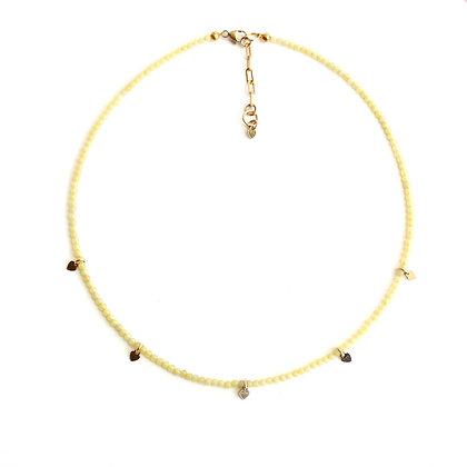 Lemon Quartz Gemstone Necklace + Tiny Heart Charms