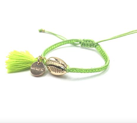 I LOVE Syria - Shell bracelet green with tassel