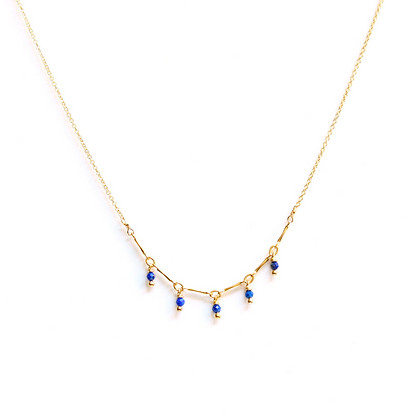 Tiny Gemstone Arc Necklace - Blue Lapis