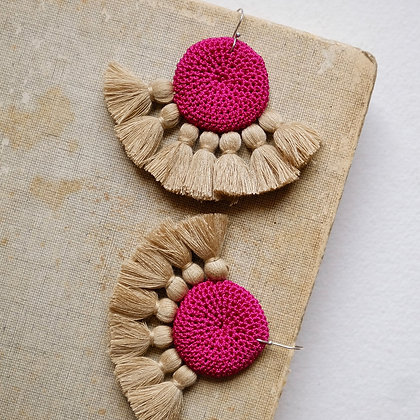 Crochet Earrings - Fuchsia & Straw