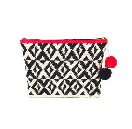 I LOVE SYRIA Clutch - black X geometric with pompoms