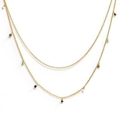 Double Strand Necklace - Green Ombre