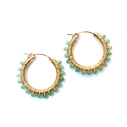 Gemstone Hoops 22 - Green Jade