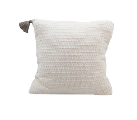 Single Tassel Pillow - Grey