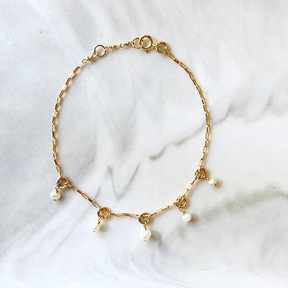 White Pearl Charm Bracelet