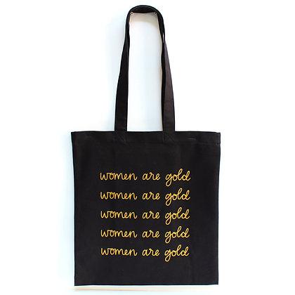 Women Are Gold - Black Tote