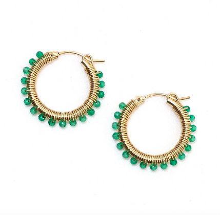 Gemstone Hoops 22 - Medium Jade