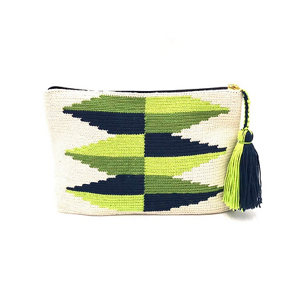 I LOVE SYRIA Clutch - Green Inverted Pyramides
