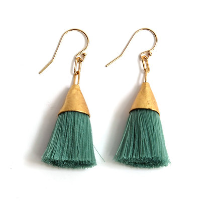 Kate Tassel Earrings - Patina Green