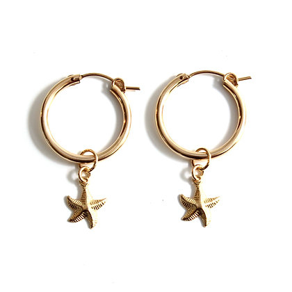 Hoop + Charm Earrings - Starfish 22mm