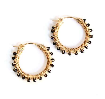 Gemstone Hoops 22 - Black Agate