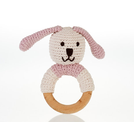 Organic Wooden Ring Rattle – Pink