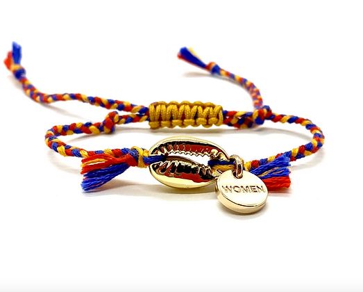 I LOVE Syria - Shell bracelet mustard red blue