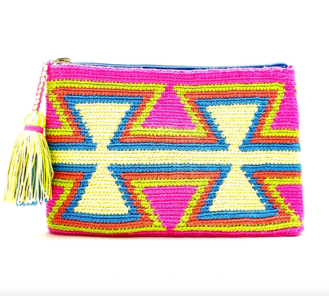 I LOVE SYRIA Clutch - Pink Green Blue Inverted Triangles