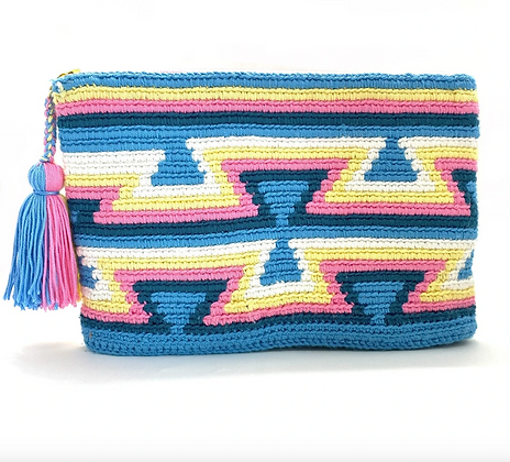 I LOVE SYRIA Clutch - Blue pink yellow Inverted Triangles