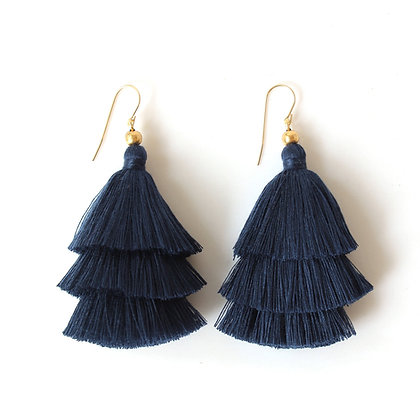 Mary Tassel Earrings - Navy Blue