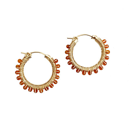 Gemstone Hoops 22 - Orange Carnelian