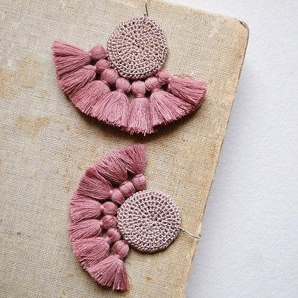 Crochet Earrings - Mink & Dusty Pink