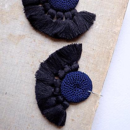 Boucles d'oreilles Crochet - Bleu nuit & Noir