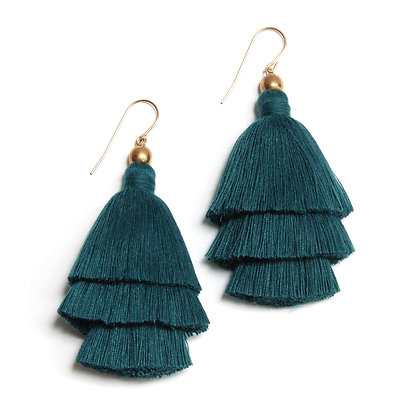 Mary Tassel Earrings -Peacok