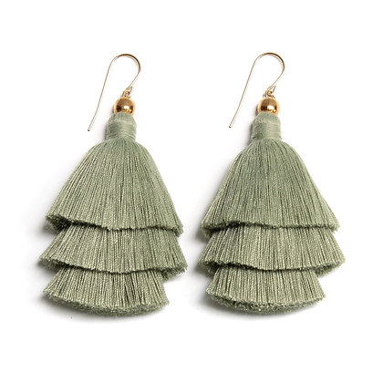 Mary Tassel Earrings - Matcha Tea
