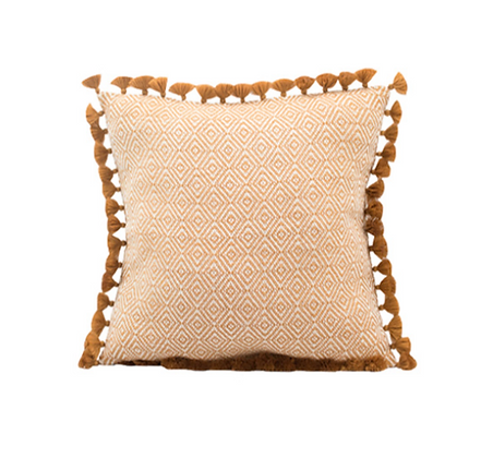 Diamond Tassel Pillow - Copper