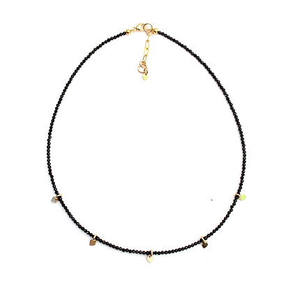 Onyx Gemstone Necklace + Tiny Heart Charms