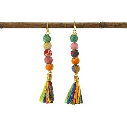 Kantha & Tassel Earrings