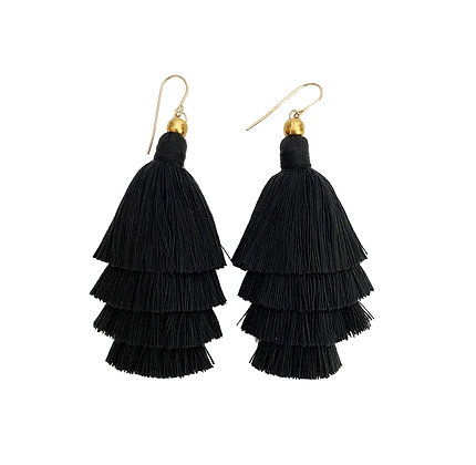 Mary Tassel Earrings - Black Long