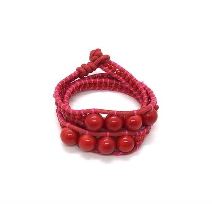 I LOVE Syria - Triple Wrap around bracelet red