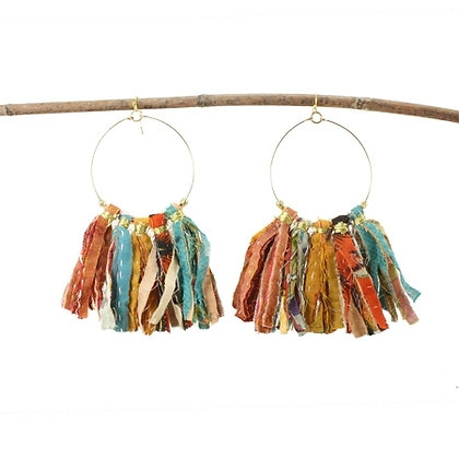 Kantha Fringe Hoop Earrings