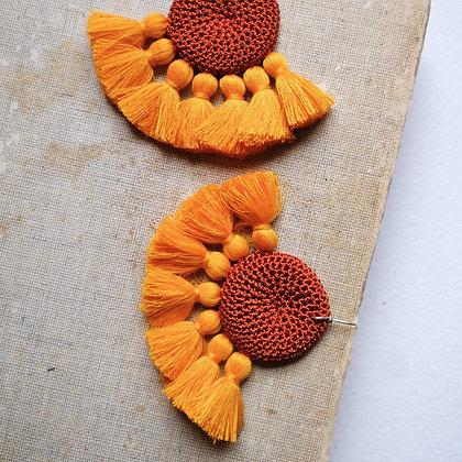 Boucles d'oreilles en Crochet - Rouille & Moutarde