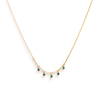 Tiny Gemstone Arc Necklace - Malachite