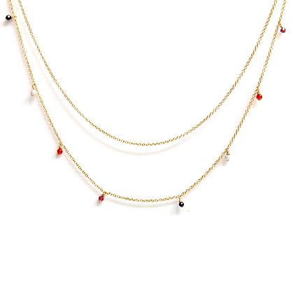 Double Strand Necklace - Orange Ombre