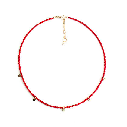 Red Coral Gemstone Necklace + Tiny Heart Charms