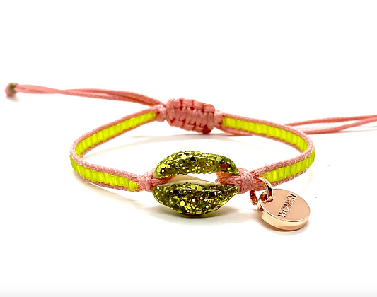 I LOVE Syria - Enamel shell bracelet pink & yellow